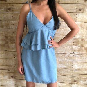DO+BE Ruffle Chambray Dress